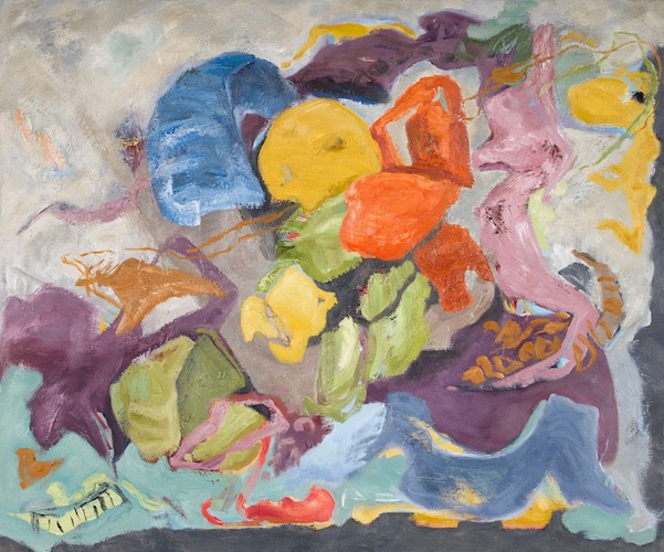 the man who flew kits, oil with wax on panel by abstract artist barbra edwards Pender Island, BC